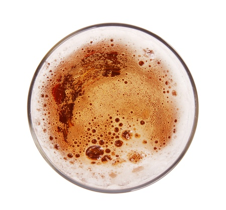 Glass of beer, top view,Isolated on white background Stock Photo