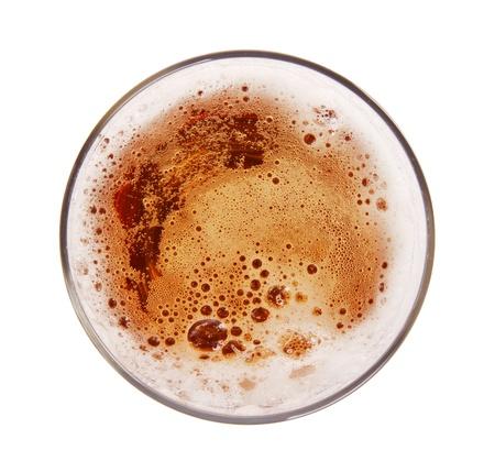 vasos de cerveza: Vaso de cerveza, vista desde arriba, aislado en fondo blanco