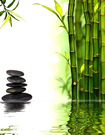 Spa bamboo background with water surface  photo