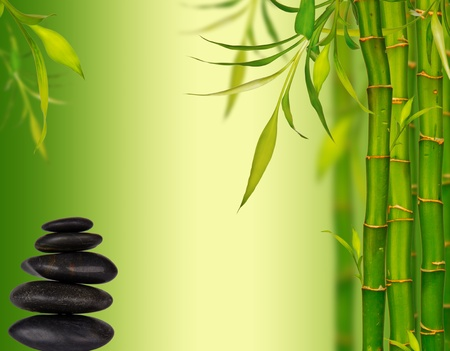 Spa bamboo background with lava stones