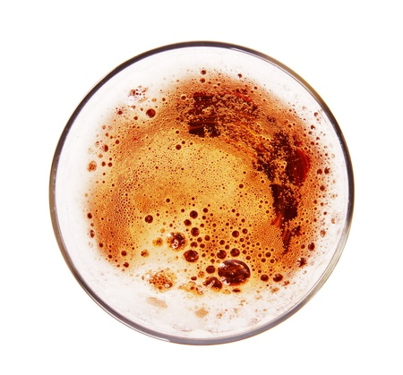 bar top: Glass of beer, top view,Isolated on white background Stock Photo