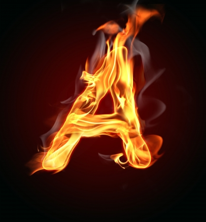 alphabet: Fire burning letter