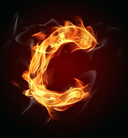 Fire burning letter Stock Photo - 12965491