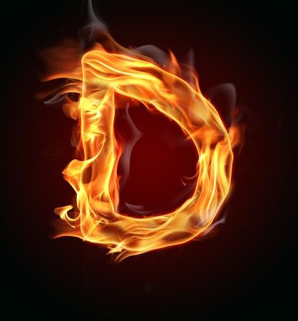 Fire burning letter photo