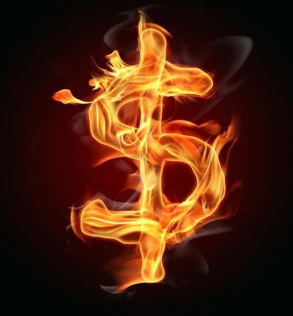 tongues of fire: Burning dollar symbol