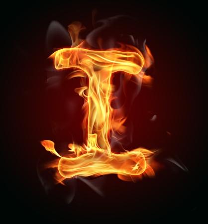 ignite: Fire burning letter