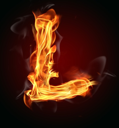 fiery: Fire burning letter