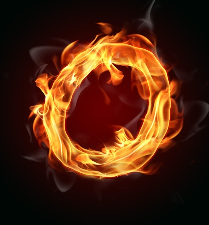flame letters: Fire burning letter