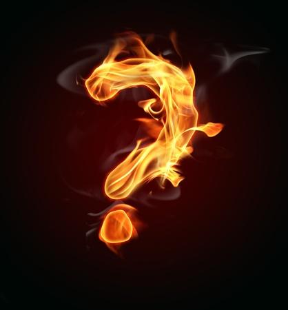 Burning question mark photo