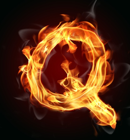 flammable: Fire burning letter