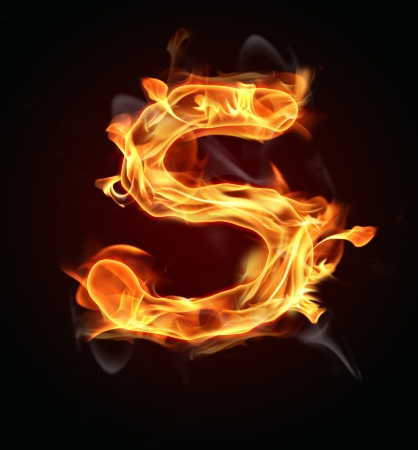 red smoke: Fire burning letter