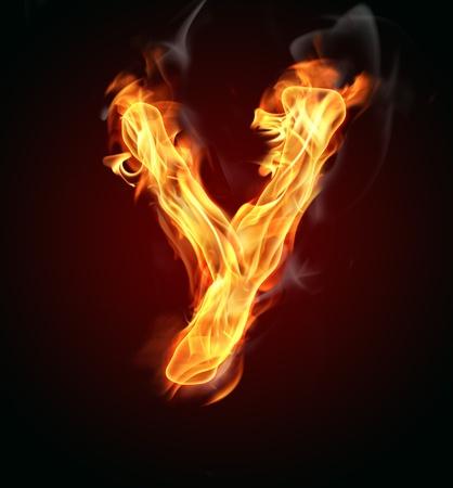 burns: Fire burning letter