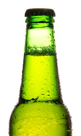 dewed: Glass of beer, isolated on white background  Stock Photo
