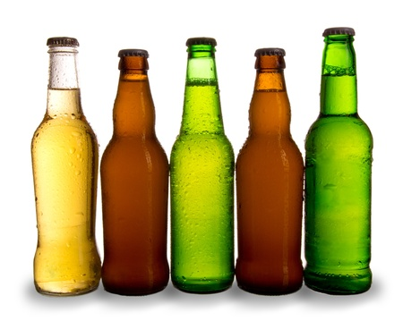 dewed: Glasses of beer, isolated on white background  Stock Photo