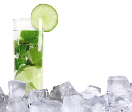 lime green background: Mojito drink with ice cubes, isolated on white background