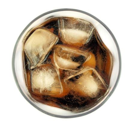 gaseosas: Cola en vidrio, vista desde arriba Foto de archivo