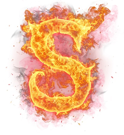 decorative letter: Fire alphabet symbol Stock Photo