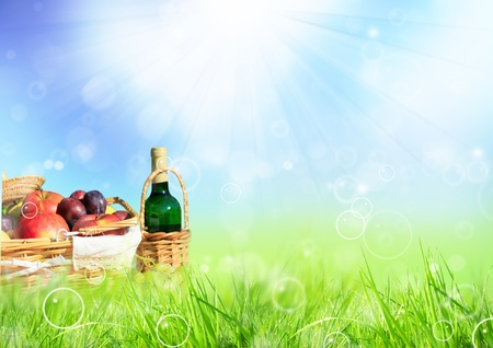 Beautiful spring scenery with picnic in meadow photo