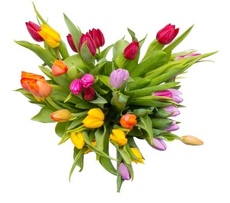 Boeket van tulpen, bovenaanzicht. Geà ¯ soleerd op witte achtergrond Stockfoto