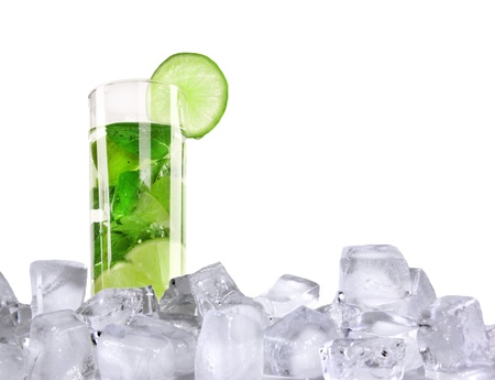 Ice mojito isolated on white background photo