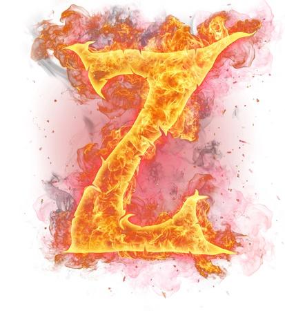 Burning fire alphabet symbols photo
