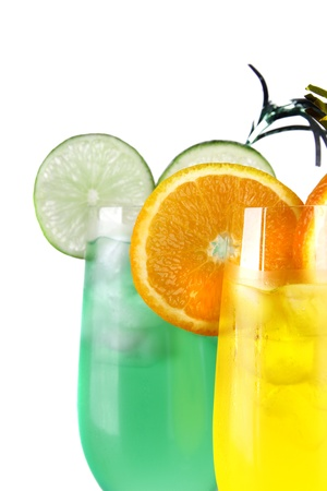 Fresh drinks on white background  photo