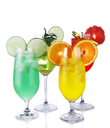 Fresh drinks collection on white background