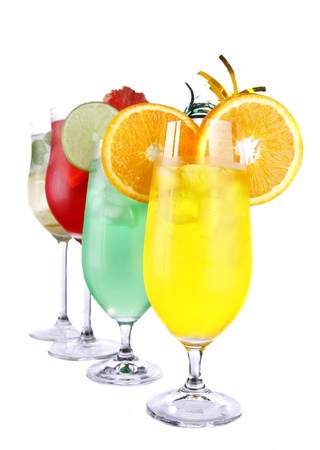 cocktails: Fresh drinks collection on white background  Stock Photo
