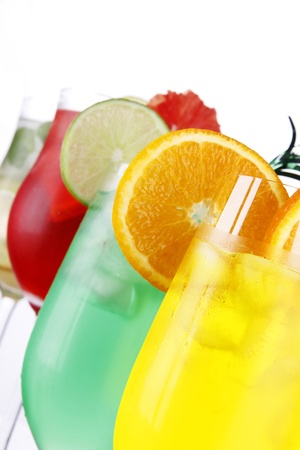 Fresh drinks on white background