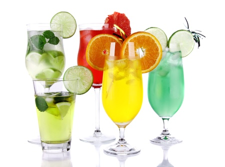 punch: Fresh drinks collection on white background  Stock Photo