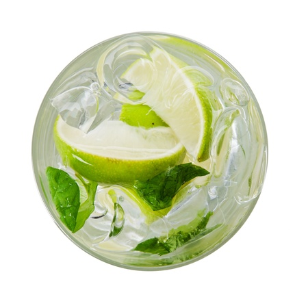 mojito: Mojito drink, top view, isolated on white background Stock Photo
