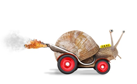 start business: Speedy snail like car racer. Concept of speed and success. Wheels are blur because of moving. Isolated on white background
