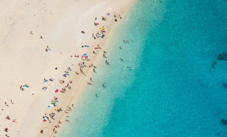 Top view of beautiful dreamy beach photo