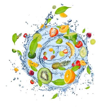 Fruit mix in water splash, isolated on white background photo
