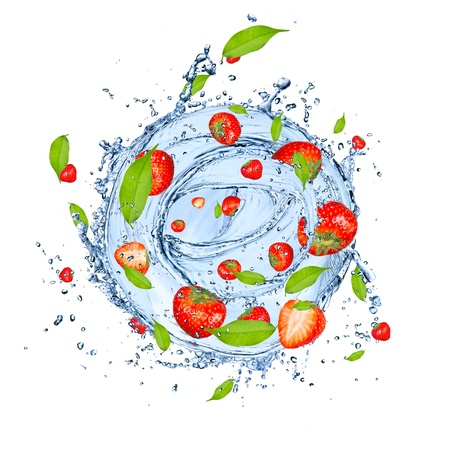 Twister: Fresh strawberries falling in water splash, isolated on white background  Stock Photo