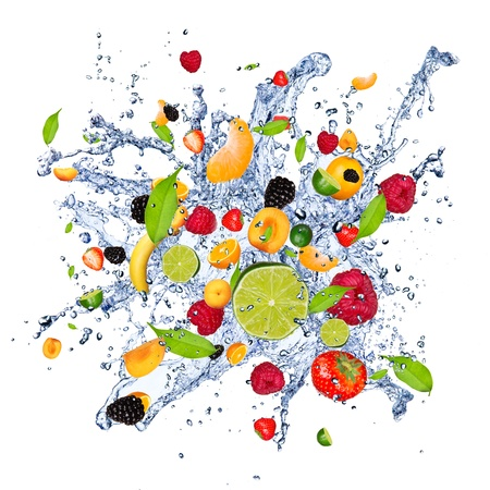Fruit mix in water splash, isolated on white background photo