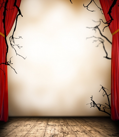 Horror stage with curtain Stock Photo