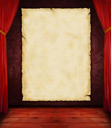 exclusive photo: Blank vintage paper with on stage