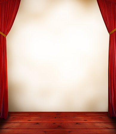 stage performance: Red curtain with blank background