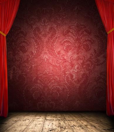 cortinas rojas: Cortina de Retro con la etapa Foto de archivo