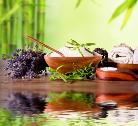 thai massage: Spa still life with bamboo background and water surface Stock Photo