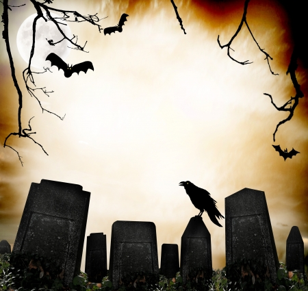 spooky graveyard: Horror background Stock Photo