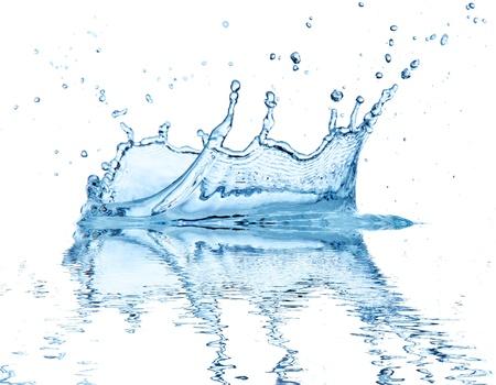 impacts: Salpicaduras de agua, aisladas sobre fondo blanco Foto de archivo