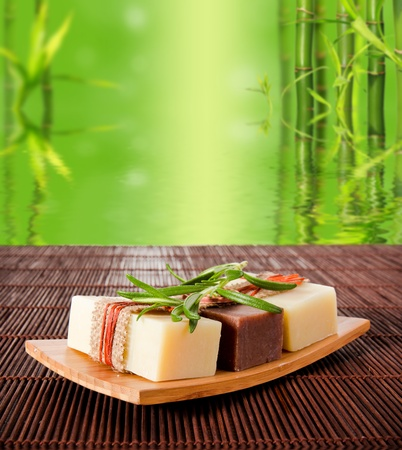 asian medical: Spa still life with bamboo background Stock Photo