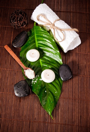 Spa still life con foglia verde e pietre laviche photo