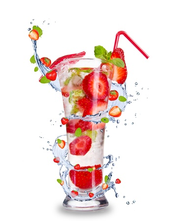 Strawberry mojito drink with splash, isolated on white background photo