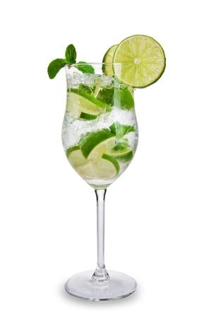 Fresh mojito drink with splash spiral around glass. Isolated on white background Stock Photo - 13572891
