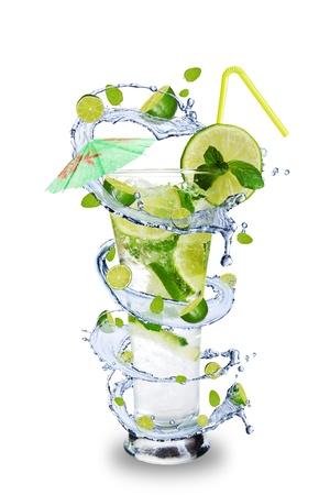 Twister: Fresh mojito drink with splash spiral around glass. Isolated on white background
