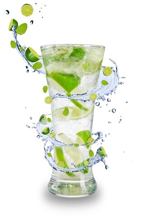 Fresh mojito drink with splash spiral around glass. Isolated on white background photo
