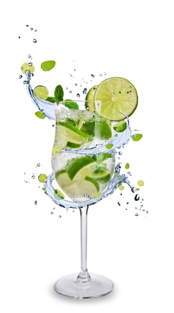 Fresh mojito drink with splash spiral around glass. Isolated on white background Stock Photo - 13572898